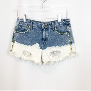 Free People Distressed Embroidered Denim Shorts 25